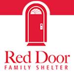 centered red door family shelter